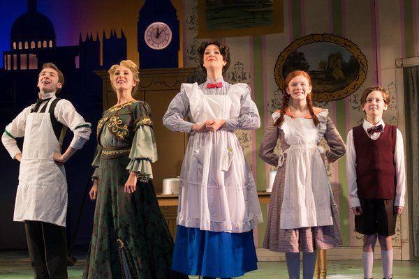 Danny Meglio, Liz Pearce, Analisa Leaming, Katherine LaFountain, & Christopher McKenna in Mary Poppins at The John W. Engeman Theater in Northport.