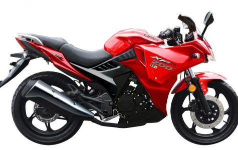 The Red Sport Motorcycle Wins the Race